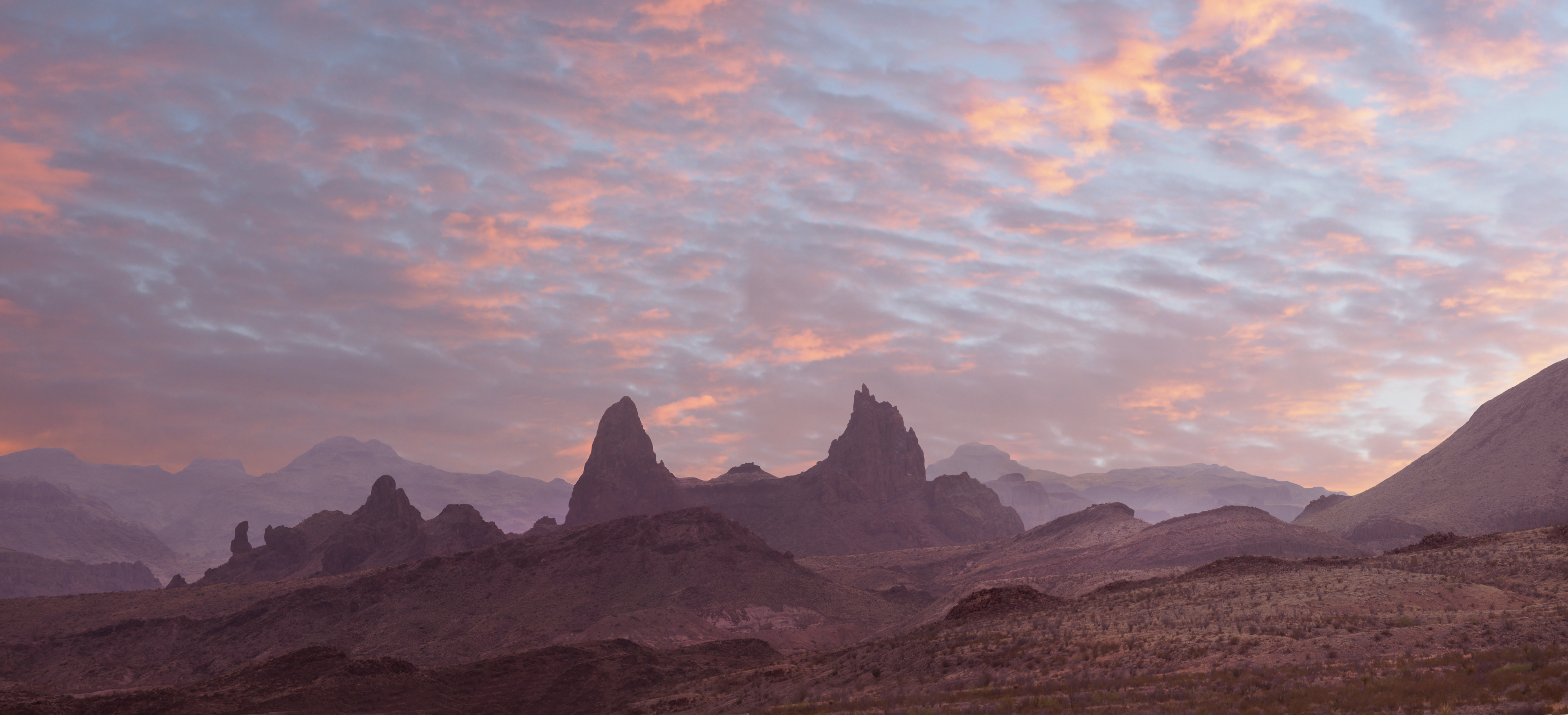 Sunset Over the Mule Ears Big Bend National Park
